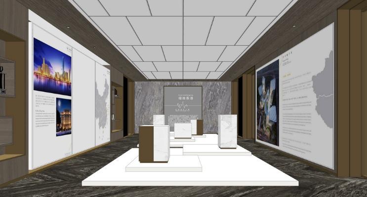 现代售楼处展示区SU模型