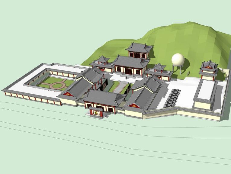 五台山寺庙SU模型