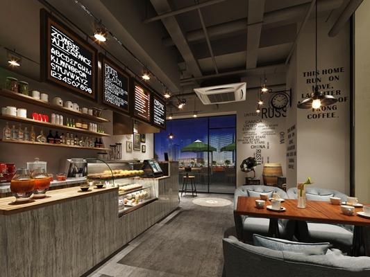 工业风咖啡厅 工业风咖啡厅 收银台 接待台 蛋糕柜 餐桌椅 单人沙发 椅子 吊灯 中央空调 面包 饮品