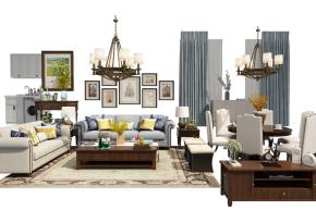 美式沙发茶几餐桌椅电视柜组合3D模型
