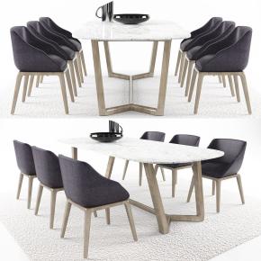 现代餐桌椅地毯组合3D模型