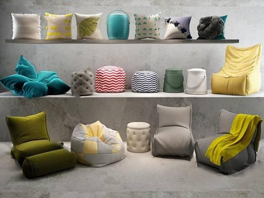 现代懒人沙发3D模型下载