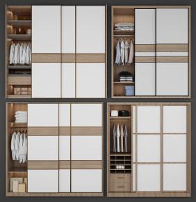 北欧实木衣柜组合3D模型