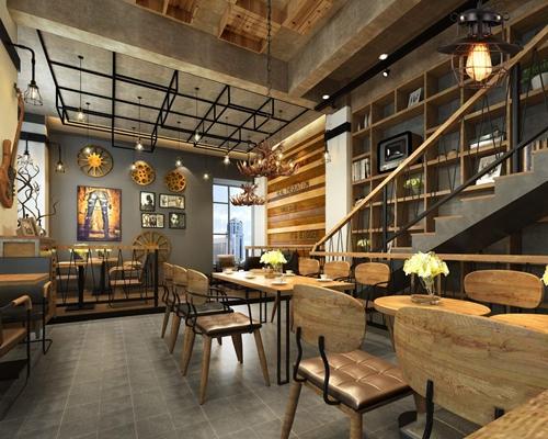 工业风古朴咖啡厅 工业风咖啡厅 古朴咖啡厅 工业长餐桌 工业铁艺椅子 墙饰 楼梯 卡座