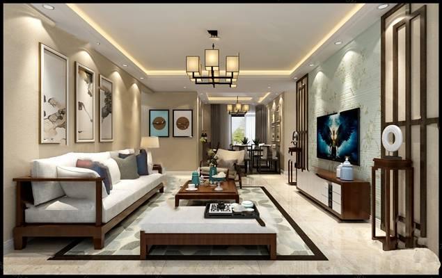 中式客餐厅3D模型 餐桌椅组合 沙发茶几组合 电视柜
