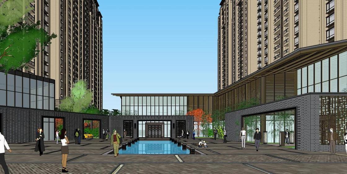 新亚洲商业街+新亚洲高层住宅SU模型
