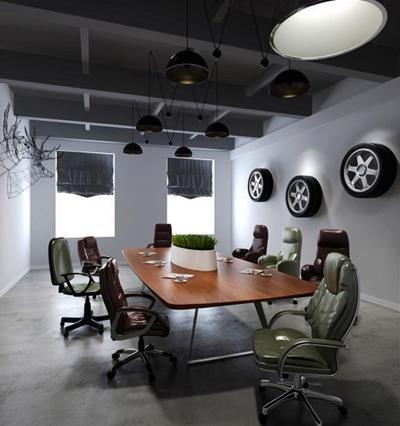 现代LOFT办公椅办公桌吊灯轮胎会议室组合 工业风办公室 办公桌椅 装饰轮胎 吊灯 工业风办公室 办公桌椅 装饰轮胎 吊灯