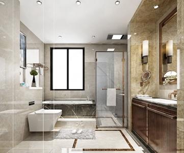 现代卫生间 现代卫浴 浴缸 马桶 洗手台 壁灯 镜子 毛巾 淋浴间