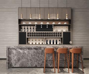 现代吧台吧椅组合 现代吧椅 吧台 吊灯 酒柜 酒瓶 酒具