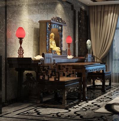 佛堂 中式雕像 中式佛像 中式桌椅 案幾 臺燈
