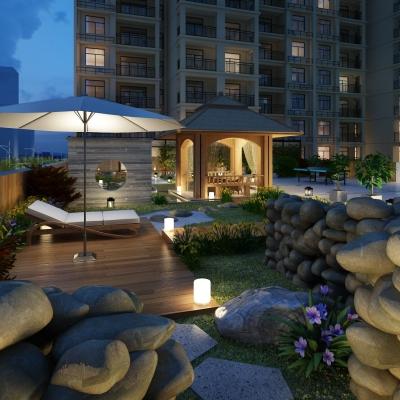 新中式屋顶园林景观3D模型