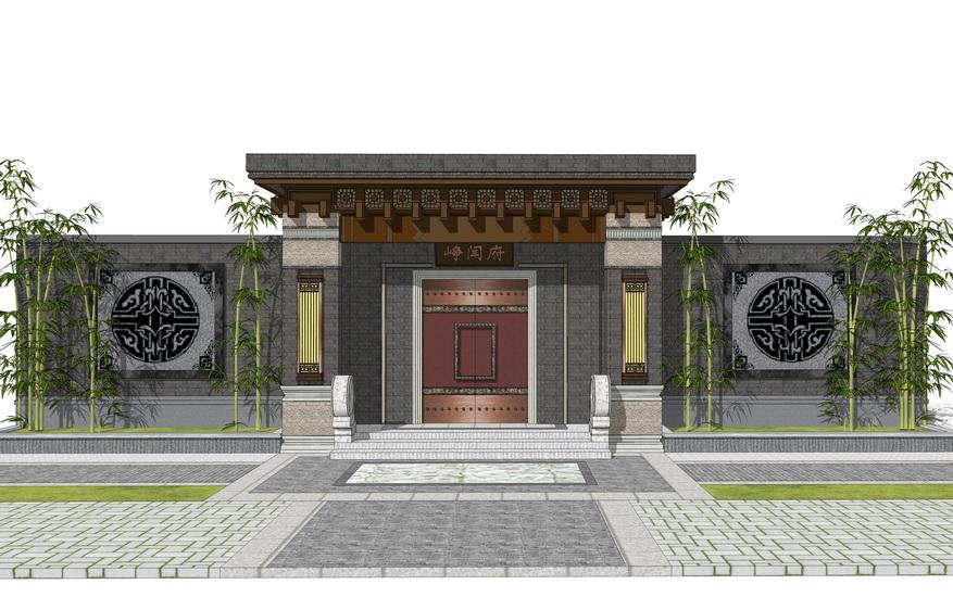 中式入口大门SU模型