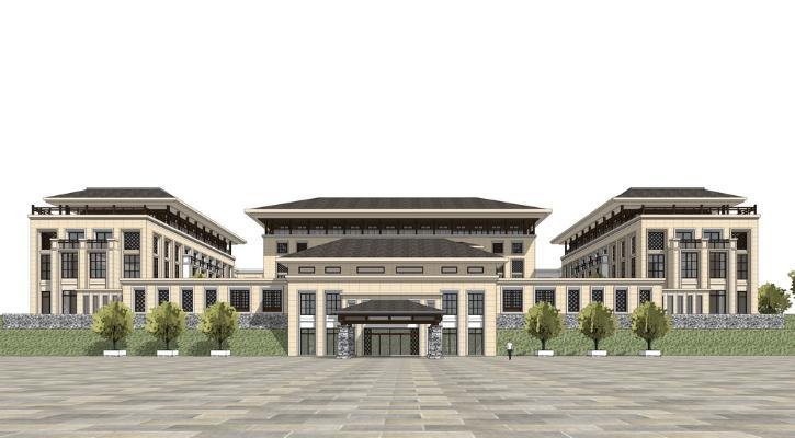 中式酒店会所SU模型
