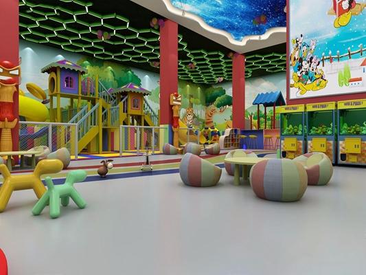 现代幼儿园室内游乐场 现代学校 游乐场 滑梯 海盗 学校 游乐园 积木 气球 卡通