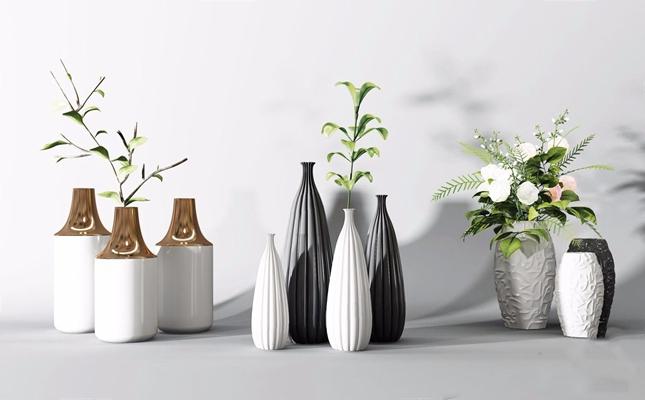 现代瓷瓶装饰花 现代花艺 装饰花 瓷瓶