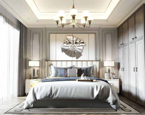 美式臥室 床