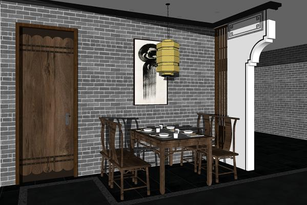 新中式徽派酒店餐桌椅组合