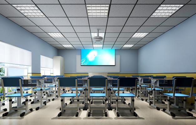 现代学校多媒体教室 投影仪 桌椅