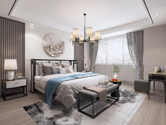 新中式卧室 吊灯 墙饰