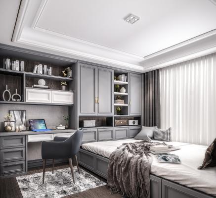 现代榻榻米卧室 书房 书桌