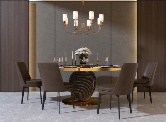 现代风格餐厅 餐桌 椅子