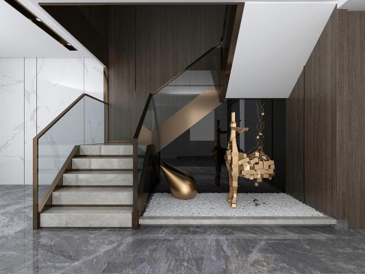 现代客厅楼梯间