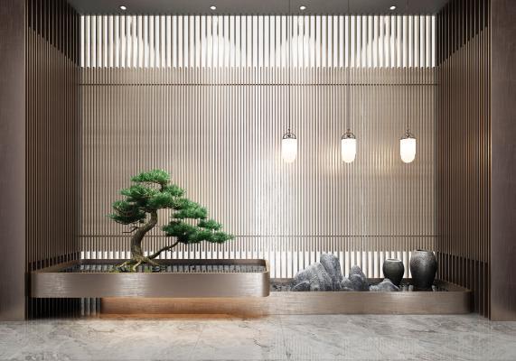 新中式室内松树造景
