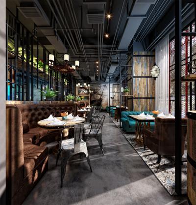 工业风咖啡厅 卡座