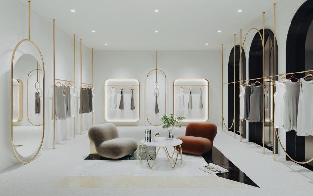 现代服装店 货架 休息区
