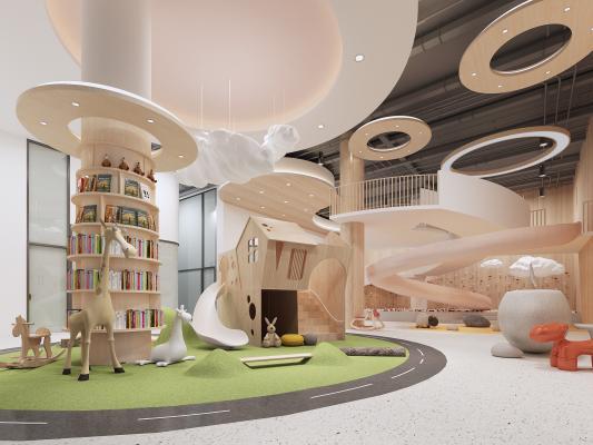 北欧幼儿园活动区 大厅 书吧
