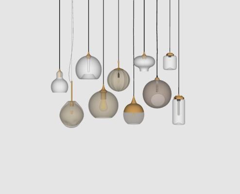 现代玻璃吊灯组合