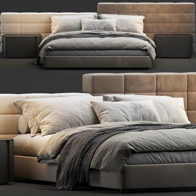 現代布藝雙人床