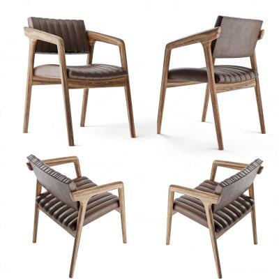 现代皮革实木单椅