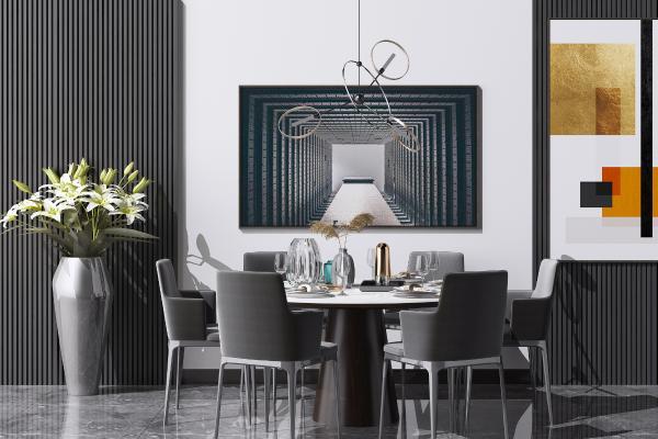 现代圆形餐桌椅组合 吊灯 挂画装饰画