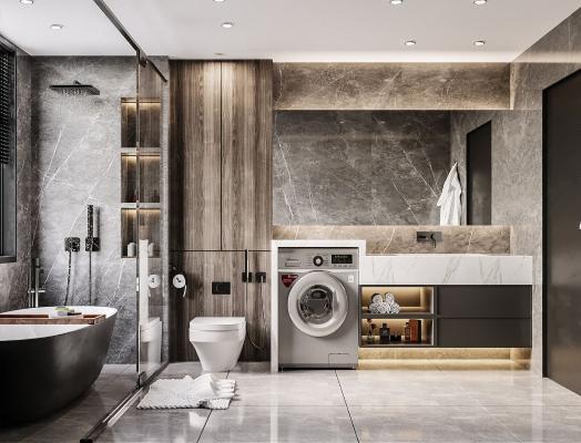 现代卫生间 马桶 洗手台
