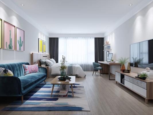 现代公寓客厅 卧室 电视柜