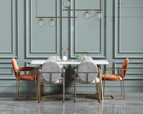 欧式简约餐桌椅组合