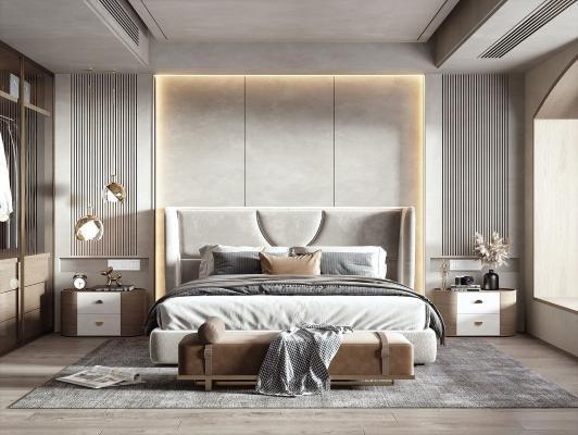 现代侘寂风卧室