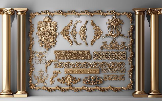 简欧罗马柱 雕花石膏 雕刻构件