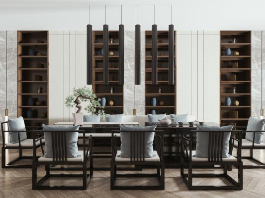 新中式餐桌椅组合 餐桌 餐椅