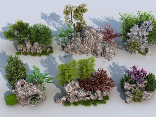 新中式假山绿植 园艺小品 太湖石 园林景观
