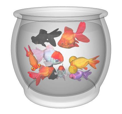 现代金鱼 鱼缸 玻璃缸