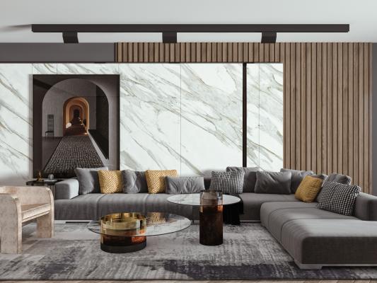現代輕奢沙發茶幾組合 轉角沙發 矮凳
