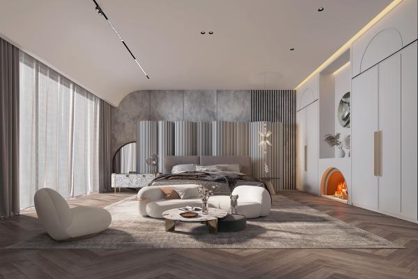 现代卧室 地毯 衣柜