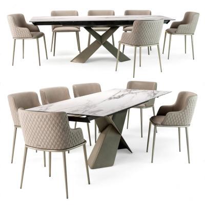 意大利cattelan现代餐桌椅组合