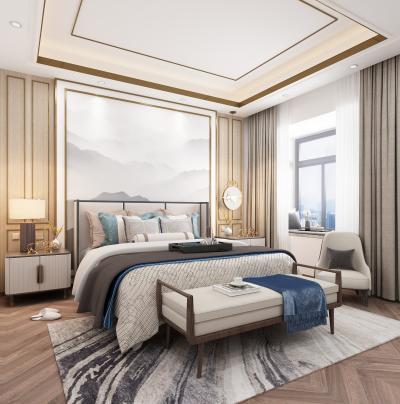 新中式家装主卧室
