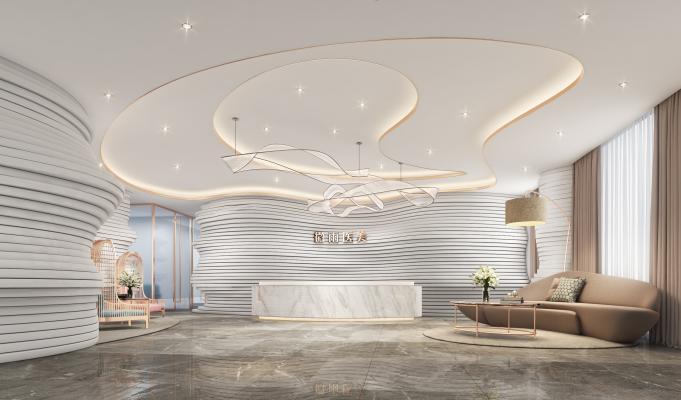 现代spa美容院前台 休息区 休闲沙发