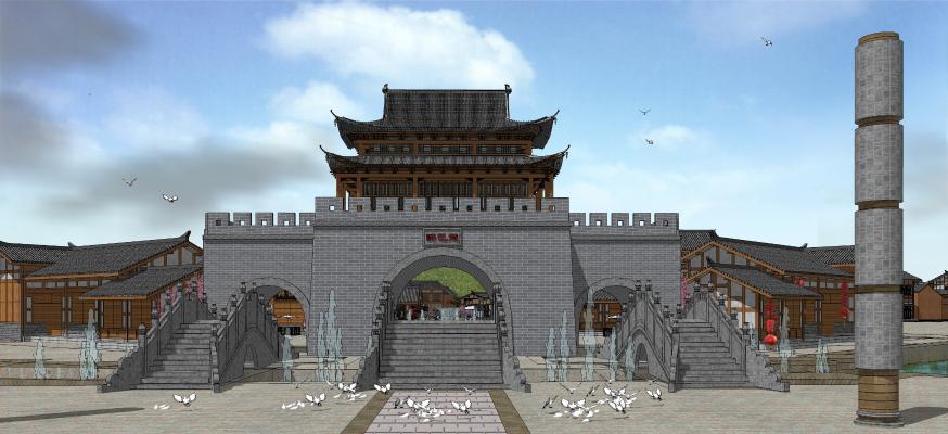 中式商业街 建筑城门