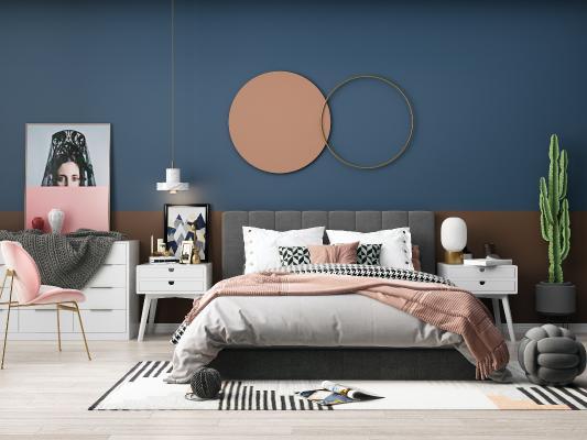 现代双人床 梳妆台 单椅