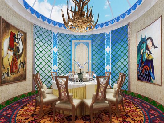 现代蒙古风格餐厅 工装空间 餐桌